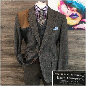 Vintage Tweed Wool Sport Coat 2 Button Jacket Mens